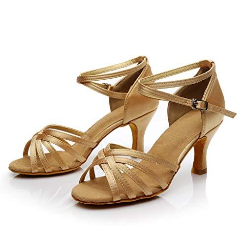 Bailarinas Cruzado Hebilla Luckygirls Mujer Tacón Zapatos Zapatillas De 7cm Caqui Sandalias Latino Con AfqEpw