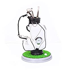 Lightahead Mini Desktop Golf Souvenir Set with 3 Pens Shaped Like Golf Clubs a Miniature Golf Bag Pen Holder with Clock .Great, Novelty Golf Gift Set for Any Golf Enthusiast