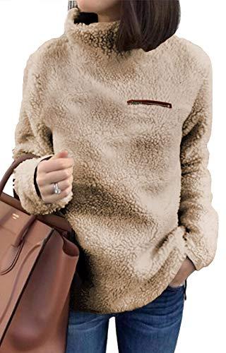 onlypuff Fleece Sweatshirt Sherpa Pullover Women Sweaters Khaki Fuzzy Slouchy M