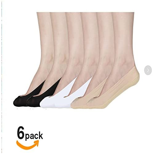 Women's No Show Liner Low Cut Cotton Nylon Boat Hidden Invisible Socks(6 Pairs) (black2white2nude2),Large
