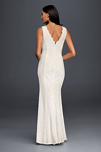 Davids bridal allover lace v neck sheath wedding dress style davids bridal allover lace v neck sheath wedding dress style 183626db at amazon womens clothing store junglespirit Choice Image