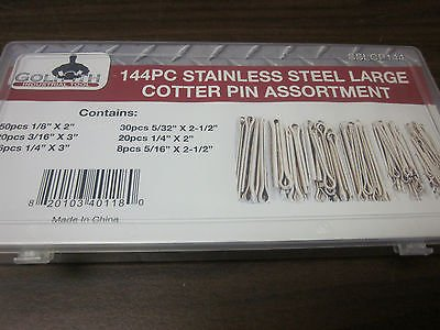 144pc G INDUSTRIAL TOOL STAINLESS STEEL LARGE COTTER PIN ASSORTMENT KIT SSLCP144