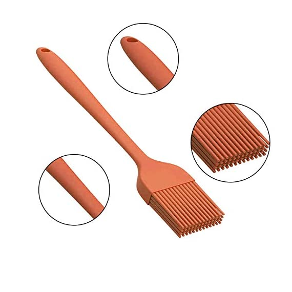 IMOE Silicone Basting Brush Set,2 Pack Heat Resistant BBQ Pastry Oil Brush, Turkey Honey Cream Baster,Food Grade,Dishwasher Safe,FDA Approved,Bristle Free 6 ★Unique Set★: Come with 1 long orange pastry brush(10.4in) and 1 short pink brush(8.3in) can meets all different usage, also easy for distinguished with different colors. ★Multi-Use★: Good grips oil brush are Great for toast,jam,honey,bread, condersed mil,BBQ, roast,honey baster and more. Heat resistant up to 446?F / 230?C ★Dishwasher Safe★: This food grade baster set are made from FDA approved silicone with steel core inside.Won't melt, discolor or shrink like some plastic nylon brushes. And the britles or brush head won't falls off on your foods.