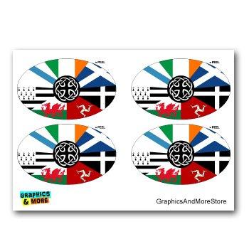 Celt Irish Ireland Pan-Celtic Nation Flags Euro Oval - Set of 4 - Window Bumper Locker Stickers