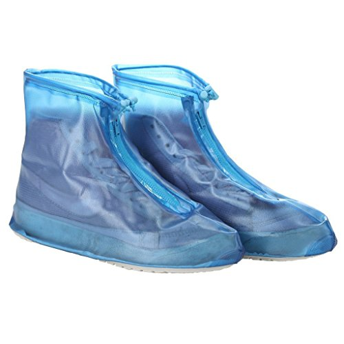 Whose Lemon Women Girls Waterproof Shoes Cover Reusable Zippered Rainproof Shoes Covers High Elastic Fabric Thicken Sole Slip-resistant Wear-resistant Shoes Covers Blue XL