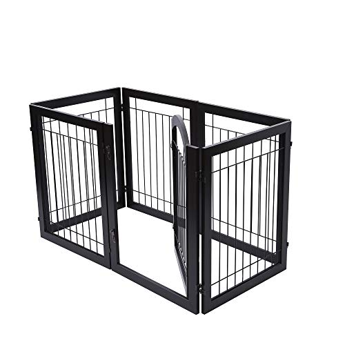 PAWLAND 144-inch Extra Wide 30-inches Tall Dog gate with Door Walk Through, Freestanding Wire Pet Gate for The House, Doorway, Stairs, Pet Puppy Safety Fence, Support Feet Included, Espresso,6 Panels by PAWLAND (Image #5)