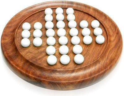 - ITOS365 Wooden Handmade Games Solitaire Board with Glass Marbles - Gifts for Kids and Adults