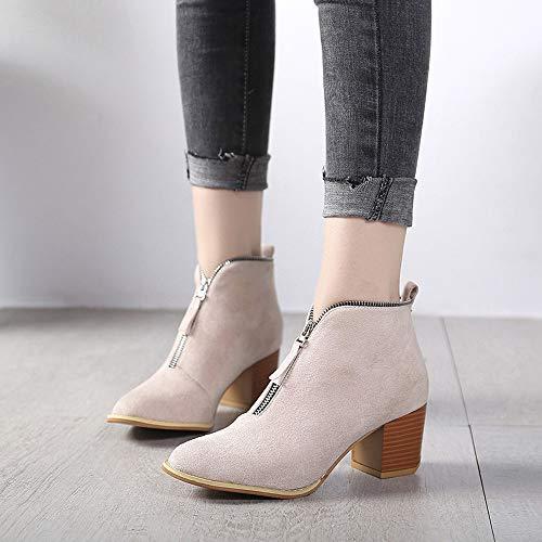 Solide Femmes Botte Talons Bottines Beige Chaussures Mid Hauts Izhh Chunky Zipper Bottines Mode Talon Vintage Lopard pais gzCCq7dw
