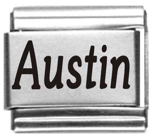 Austin Laser Name Italian Charm Link