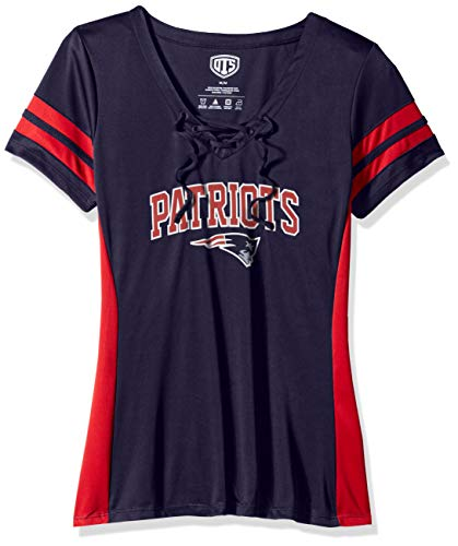 NFL New England Patriots Female OTS Poly Lace Up V-Neck Tee, Light Navy, X-Large