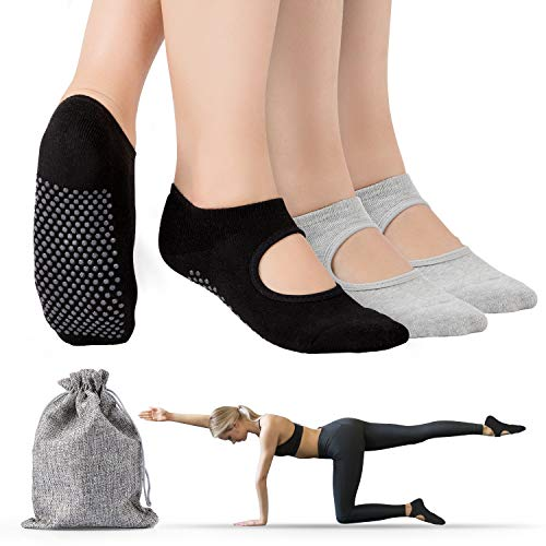 Tusscle Yoga Socks, Non-Slip Barre Socks Pilates Socks with Grips, Yoga Socks for Women Ideal for Yoga, Barre, Pilates, Ballet, Dance, Fitness, Barefoot at Home (2 Pairs- sweaty and keep warm)