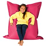 Hi-BagZ Kids Extra Large Beanbag 4-Way Lounger - 120cm x 100cm, Pink - Giant Childrens Bean Bag for Indoor Outdoor Use - Water Resistant, Weather Proof Garden Floor Cushion Bean Bags