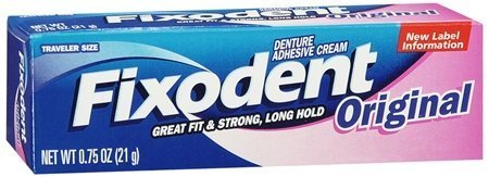 Fixodent Denture Adhesive Cream, Original, Strong and Hold 0.75 Oz/21 G Travel Size (Pack of 6) by Fixodent