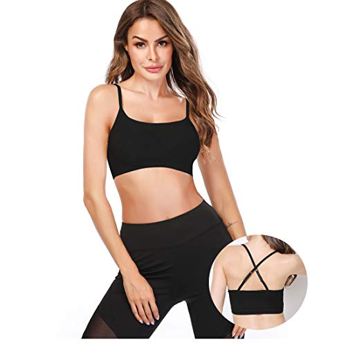 KIWI RATA Crop Tops for Women, Mini Camisole with Built-in Bra Adjustable Spaghetti Strap, Comfortable Tank Tops Padded Short Cami Bra for Yoga Black M
