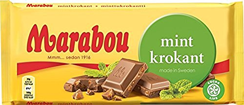 Marabou Mint Krokant Milk Chocolate Bar 200g (Sweden)