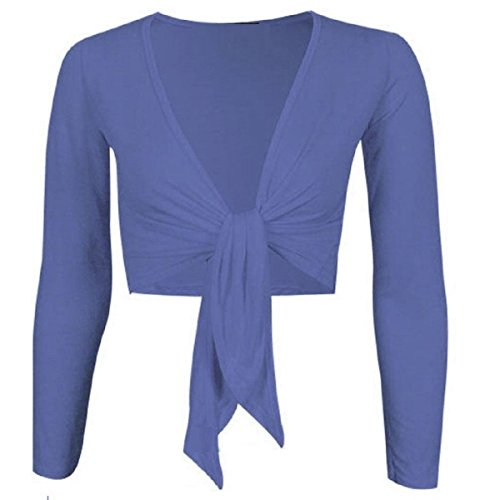 Cardigan Shrug 26 Tie Cropped Sleeve Ladies Navy 8 Plain Womens Top Front Long Up Hq7nw8z