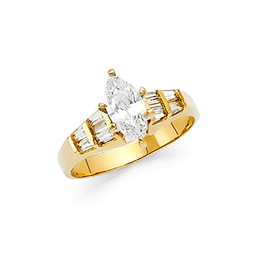 14k Yellow Gold Marquise CZ Channel Set Baguette Engagement Ring