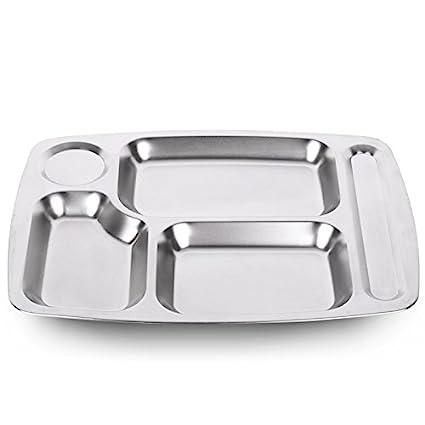 Compartimento de la bandeja de acero inoxidable bandeja 1 snack comedores estudiantiles