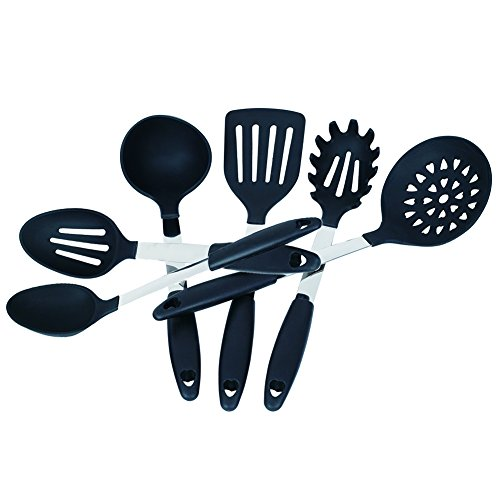Kuke 6 Piece Kitchen Utensil Set,Heat Resistant Silicone Stainless Steel Cooking Tools,BPA Nylon Cookware Gadgets,Dishwasher Safe(Black) (Teflon Cooking Spray compare prices)