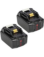 JYJZPB Accu voor Makita 18V 5,5Ah Li-ion Batterij Vervangende BL1850B BL1830 BL1840 BL1850 BL1860 BL1815 BL1820 BL1845, 2 stuks met LED-indicator