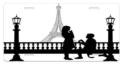 Fabri.YWL Engagement Party License Plate, Paris Love Valentine's City Wedding ProposaFuture Happiness Image, High Gloss Aluminum Novelty Plate, 6 X 12 Inches, Black and White]()