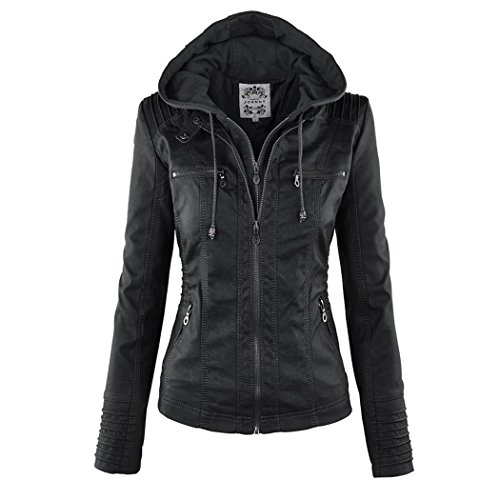Leather Jackets Black With Removable Hood