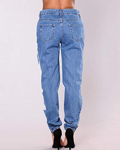 Donna Sciolto Casual Strappati Yonglan Pantaloni Blu Denim Lago Jeans Boyfriend OqAdSnxSw