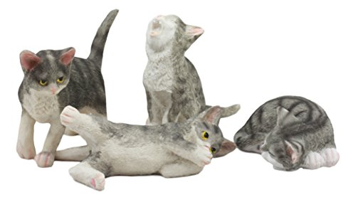 Ebros Crazy For Cats Four Playful Kitten Statues Adorable Kitty Cat Animal Figurines In Multiple Poses