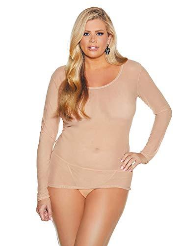 Womens Plus Size Long Sleeve Stretch Mesh Shirt Lingerie