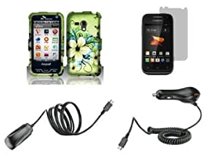 Bloutina Samsung Galaxy Rush (Boost Mobile) Combo - Green Hibiscus Butterfly Flower Design Shield Case + Atom LED Keychain...