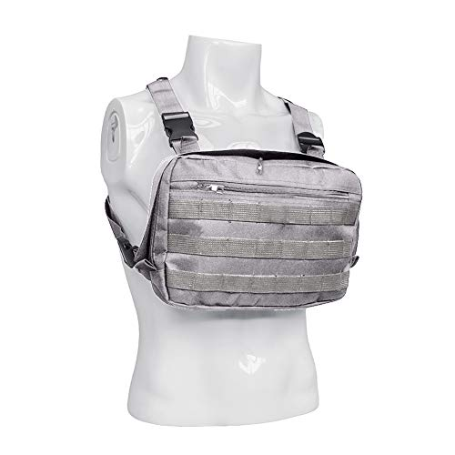 Tactical Chest Rig, Heavy Duty Radio Chest Harness, Chest Front Pack Pouch Holster Vest Rig for Two Way Radio with Front Pouches and 2 Large Pockets for Universal Walkie Talkies Accessories ()