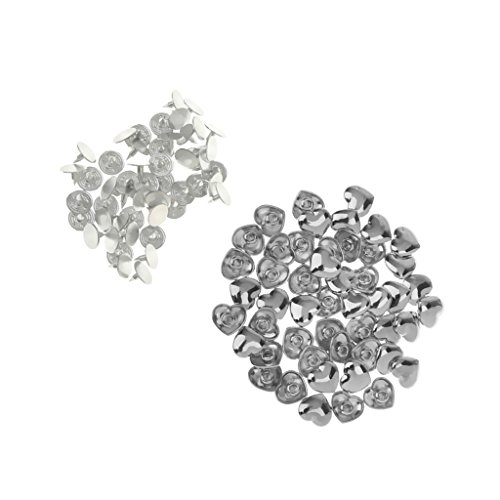 MagiDeal 50 Sets Alloy DIY Deocrative Heart Rivets Studs Buttons Spots Spikes for Leather Craft Garment Clothes Accessory 11mm - Silver