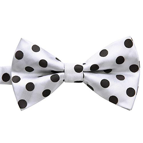 Enlision Pre-Tied Bow Tie Polka Dot Adjustable Formal Bowties Neck Tie for Men & Boys White/Black