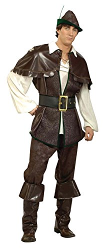 UHC Men's Robin Hood Outfit Medieval Theme Fancy Dress Halloween Costume, M (42-44)