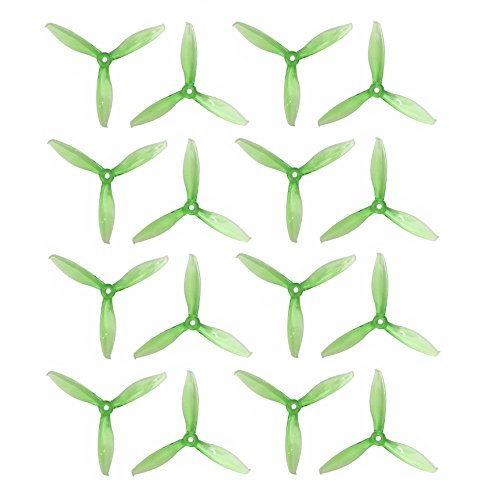 Genuine Gemfan 5149 3-Blades FLASH (5.1×4.9×3) Propellers by RAYCorp. 16 Pieces(8CW, 8CCW) Clear Green – Polycarbonate 5.1-inch Tri Blades Quadcopters & Multirotors Props + RAYCorp Battery Strap