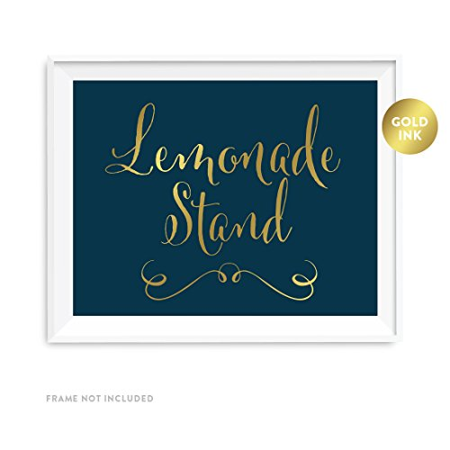 Andaz Press Wedding Party Signs, Navy Blue with Metallic Gold Ink, 8.5x11-inch, Lemonade Stand Reception Dessert Table Sign, 1-Pack]()