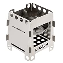 Lixada Portable Stainless Steel Lightweight Wood Stove Solidified Alcohol Stove Outdoor Cooking Picnic BBQ Camping
