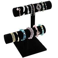 2 Tier Black Velvet T-Bar Bracelet Watch Jewelry Stand Display