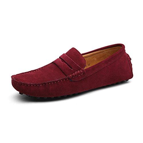 Eagsouni Klassiska Skor Mocka Loafers Man Halka På Penny Loafers Rödvin