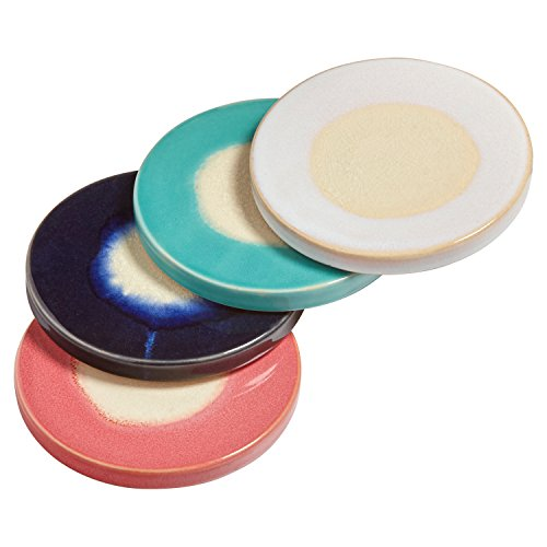 "Rivet Modern Ceramic 4-Coaster Set, 4.25"" H, Red, Green, Blue, Cream"