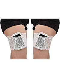 YULOONG Sexy Lace Thigh Bands with Pocket Anti Chafing Elastic Work Out Compression Sleeve Plus Size 2 PCS
