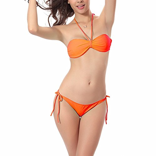 JIAJIA - Conjunto - Básico - Sin mangas - para mujer naranja