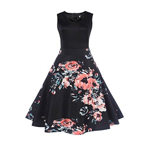 Vestido de mujer, ❤️Xinantime Vestido de bola sin mangas elegante floral de las mujeres Vestido Hepburn de té vintage Vestido Elegantes de Noche ❤️floral