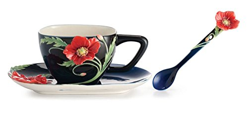 - Franz Porcelain The Serenity Poppy Flower Design Sculptured Porcelain Cup/Saucer Set with Spoon