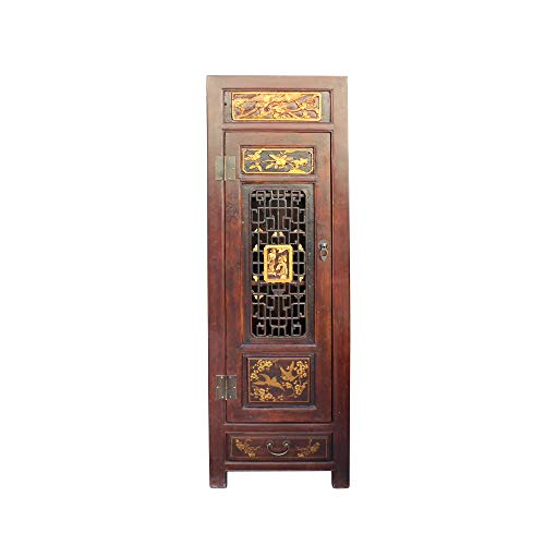 Chinese Fujian Brown Golden Graphic Slim Armoire Storage Cabinet Acs4513 from A Large Cabinet