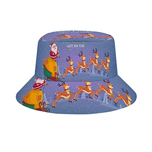 (Osvbs Cute Cartoon Santa Claus Riding Reindeer Sleigh Merry Christmas Foldable Reversible Unisex Adult Fashion Bucket Cap Summer Fisherman hat Outdoor Cap, Many Patterns)