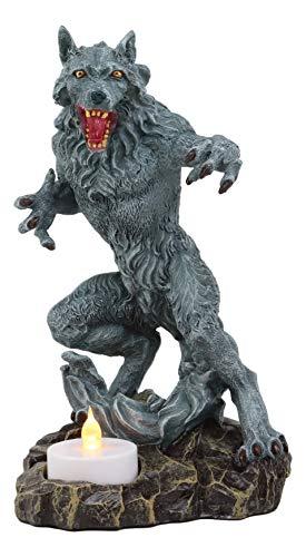 Ebros Gothic Werewolf Tea Light Candle Holder Statue Lycan Beast Wolf Man Figurine Werewolves Direwolf Fantasy Decor Sculpture for Halloween Underworld Macabre Mystic Decorative Candleholder]()