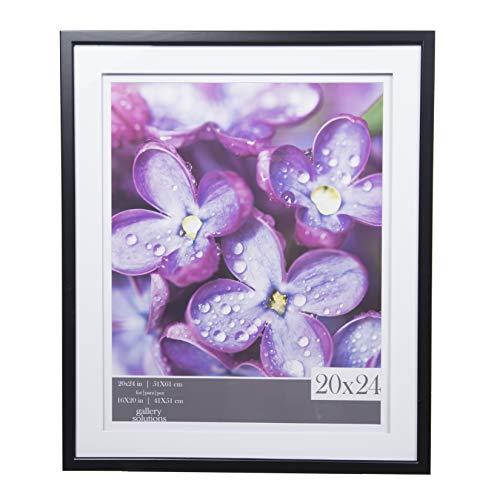 Gallery Solutions 20x24 Black Double White Mat for 16x20 Picture Wall Frame, (Picture Frames 20 Openings)