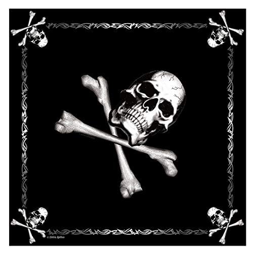 Bandana, Black w/Jolly Roger, 22-inch by Rothco (Desert Digital Bandana)
