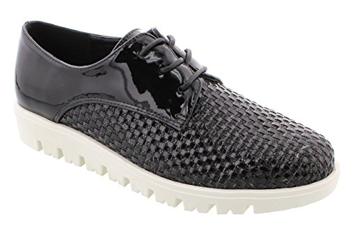 Moca Sports-07 Womens Casual Two Tone Hand Woven Faux Leather With Glittered Faux Leather Loafer Black
